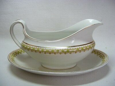 Rare Old A G Meakin China Gravy Boat Under Plate Ionia