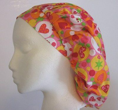 Retro Hearts Stars Dots surgical scrub hat bouffant H346 Poofier