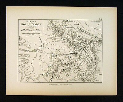 1855 Alison Military Map - Napoleon Battle of Mount Thabor - Tabor Israel