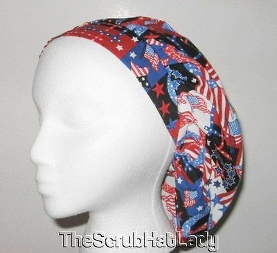 Patriotic flags stars stripes surgical scrub hat bouffant F342 R