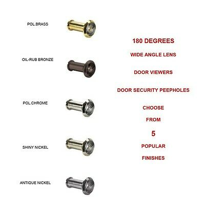 DV180-15A 180 Degree Door Viewers Security Door Peepholes Chrome, Nickel, Bronze