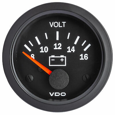 VDO Vision Analogue 52mm Voltmeter Black Electrical Gauge