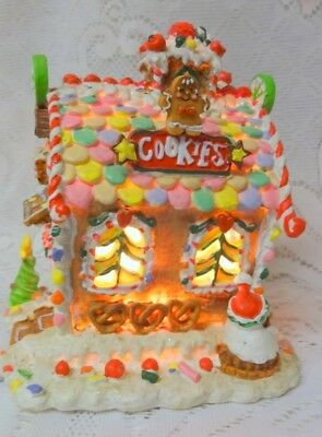 Vintage Holiday Christmas Tree Gingerbread Cookie Lighted House Building