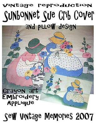 Hand Drafted Embroidery Pattern Baby Crib Quilt & Pillow Vintage Sunbonnet Sue