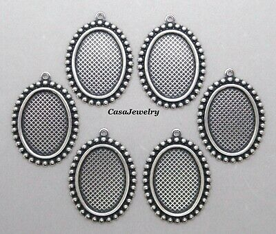 #1157 ANTIQUED SS/P 18X13MM BEADED BORDER BEZEL W/TOP HANG RING - 6 Pc Lot