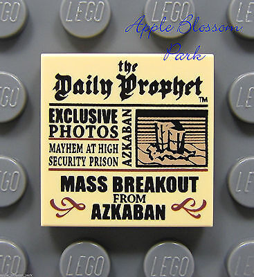 NEW Lego Harry Potter 2x2 Tan Decorated FLAT TILE Daily Prophet Newspaper 4840