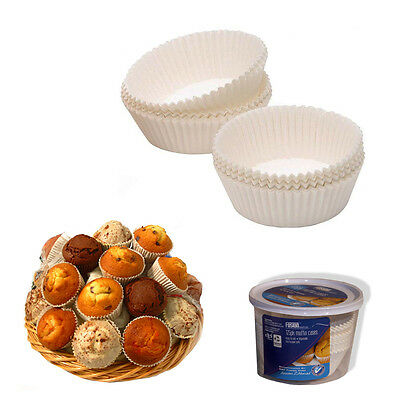 125 Large White Disposable Cup Cake Fairy Muffin Cupcake Cases Party Decorating