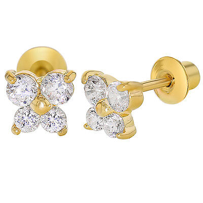Clear Crystal Butterfly Gold Filled 18k Baby Screwback Earrings Children Girls