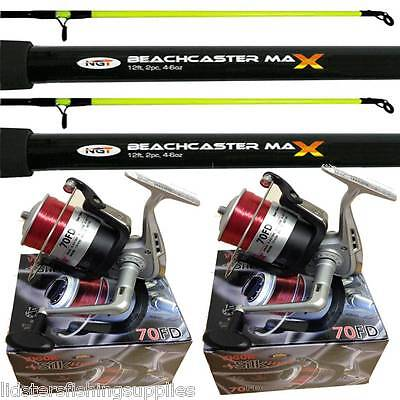 2 x New 12ft 2pc NGT Beachcaster Sea Fishing Rods + 2 Lineaeffe Silk 70 Reels