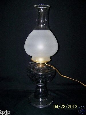 TURNING PURPLE GLASS OIL/ELECTRIC TABLE LAMP FROSTED CHIMNEY