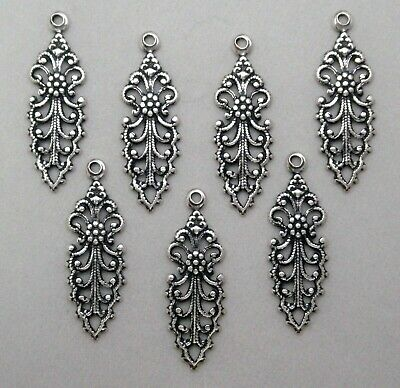 #4189 ANTIQUED SS/P OPEN FILIGREE TEARDROP W/TOP HANG RING - 12 Pc Lot