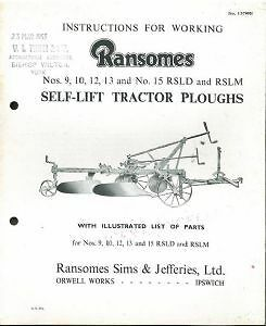 RANSOMES TRACTOR PLOUGH Nos 9, 10, 12, 13 & No 15 RSLD & RSLM OPERATORS MANUAL