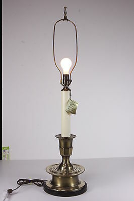 Vintage Frederick Cooper Large Brass Candlestick Table Lamp Electric
