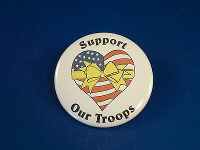 SUPPORT OUR TROOPS BUTTON  Patriotic pin pinback BIG! badge NEW America MILITARY