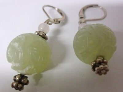 Antique 19th Century Chinese Carved Green Jade Earrings