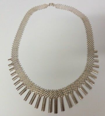 Vintage Italy Heavy Mesh Sterling Silver Chain Fine Fancy Pattern Necklace