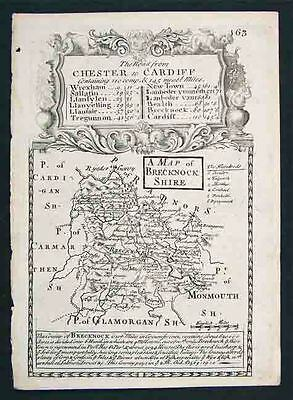 1720 Bowen Road Map Brecknockshire Chester Cardiff UK