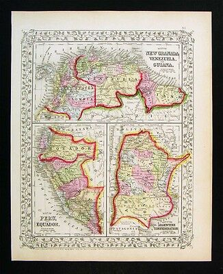 1867 Mitchell Map Brazil Colombia Argentina Peru Ecuador Venezula  South America