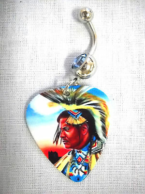 NEW TRIBE CHIEF IN FULL HEADDRESS COLOR PRINTED GUITAR PICK CLEAR CZ BELLY RING
