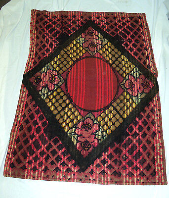 """Antique Large 60""""x42"""" Red Chase Horsehair Wool Buggy Sleigh Blanket Lap Robe"""
