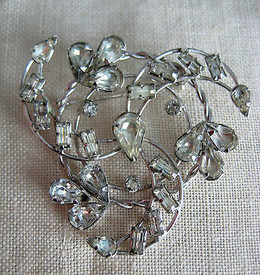 Vintage Sterling Silver Clear Stone Rhinestone? Star Art Pin Brooch 1950