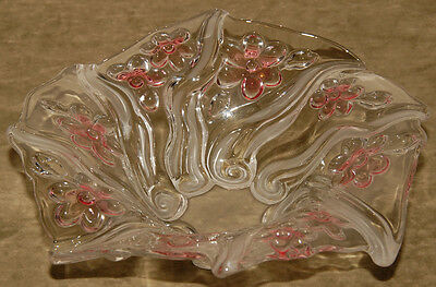 Mikasa ( ?? ) - ROSE Pink GORGEOUS CRYSTAL Bowl - Flowers & FROSTED Swirls