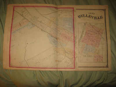 Antique West Belleville New Athens St Clair County Illinois Handcolored Map Nr