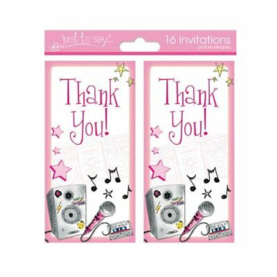 Pack of 16 x Kids Girls Pink Music Notes Thank You Cards Blank With Envelopes