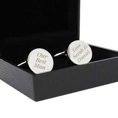 Personalised Silver Finished Round Cufflinks-Engraved Free-Christmas, Wedding