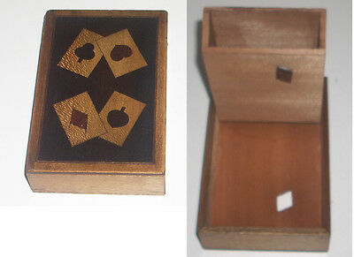 Vintage Walnut Wooden Inlaid Marquetry Playing Card Box with Diamond Cutout