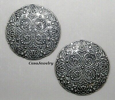 #3020 LARGE ANTIQUED SS/P ROUND FILIGREE W/TOP HANG HOLE - 2 Pc Lot