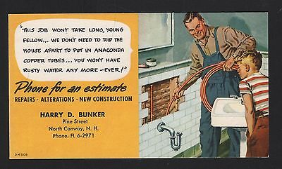 North Conway New Hampshire NH Harry D Bunker Ink Blotter/Plumbing
