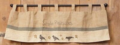 """Simple Pleasures Crows and Stars Natural Burlap Window Valance approx 40""""x15"""""""