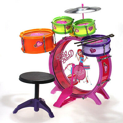 Girls & Boys Kids Children Toy Drum Set Kit 8pcs Musical Band Instrument Playset