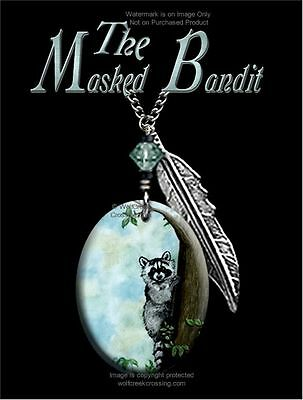 "Masked Bandit Raccoon Necklace - Western Wildlife Art Jewelry Free Ship 24""cblu*"