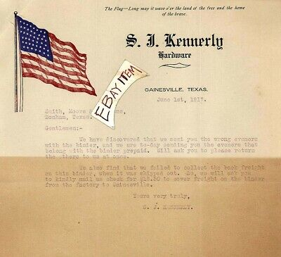 1917 GAINESVILLE TEXAS S J Kennerly Hardware Store SAM TAG SAMUEL Tennessee LHD