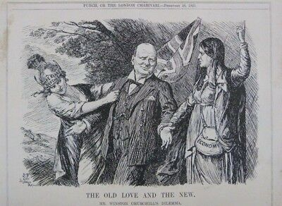 """7x10"""" punch cartoon 1925 THE OLD LOVE & THE NEW churchill , economy / defence"""