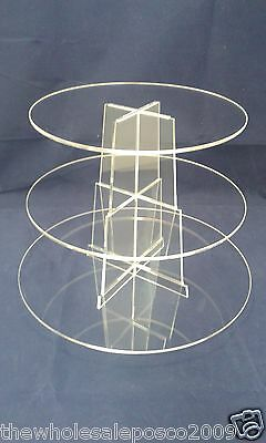 3 Tier Round Acrylic Cup Cake Stand For Wedding Birthday & Party Celebrations