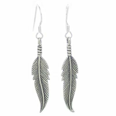 Feather sterling silver drop earrings .925 x 1 pair feathers drops SSF-1--HOOKS