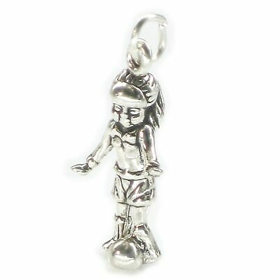 Female Football Player sterling silver charm .925 x 1 Soccer players SSLP2823