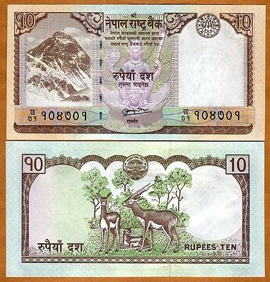 Nepal, 10 Rupees, (2010) P-New-61, UNC > Everest, Antelopes