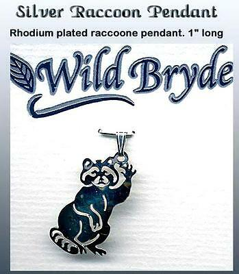 Silver RACCOON Pendant by Wild Bryde Rhodium plated