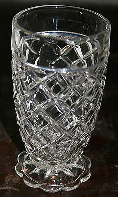 Vintage Anchor Hocking Depression Glass Waterford Waffle Clear Footed Tumbler!