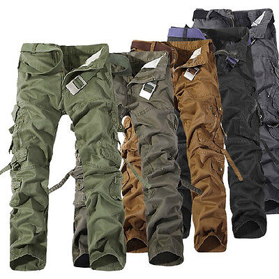 R48 Men's Military Army Cargo Camo Combat Work Pants Casual Trousers No Belt New