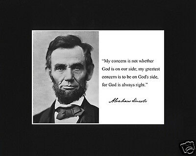 """Abraham Lincoln """" my concern"""" Famous Quote Black Matted Photo Picture"""