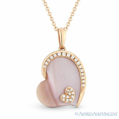 2.02 ct Mother-of-Pearl Diamond Sideways Heart Necklace Pendant in 14k Rose Gold