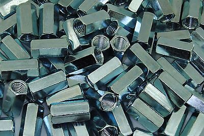 (100) Hex Coupling Nuts 1/2-13 x 5/8 x 1-1/4 Threaded Rod Connector Zinc
