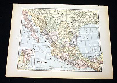 Antique Mexico or Central America Map 1892 Cram's Atlas Color