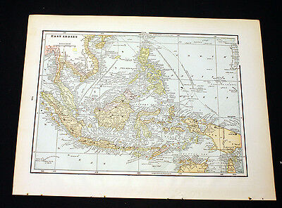 Antique East Indies or Russia in Asia Turkestan Map 1892 Cram's Atlas Color