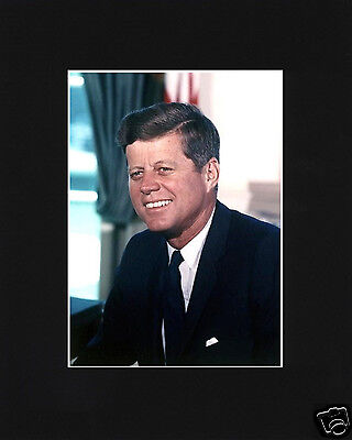 President John F. Kennedy JFK Portrait Black Large Matted Photo Picture